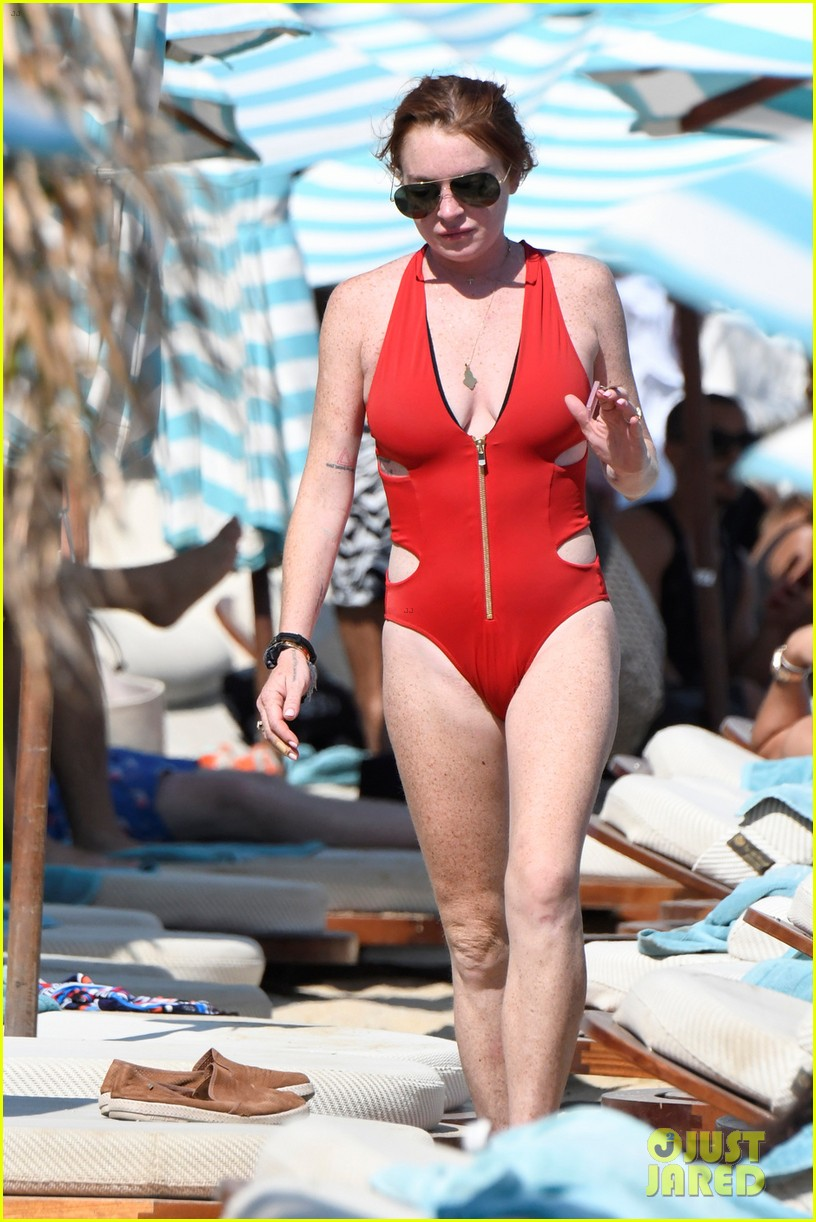 lindsay lohan sports red one piece in greece 043947590