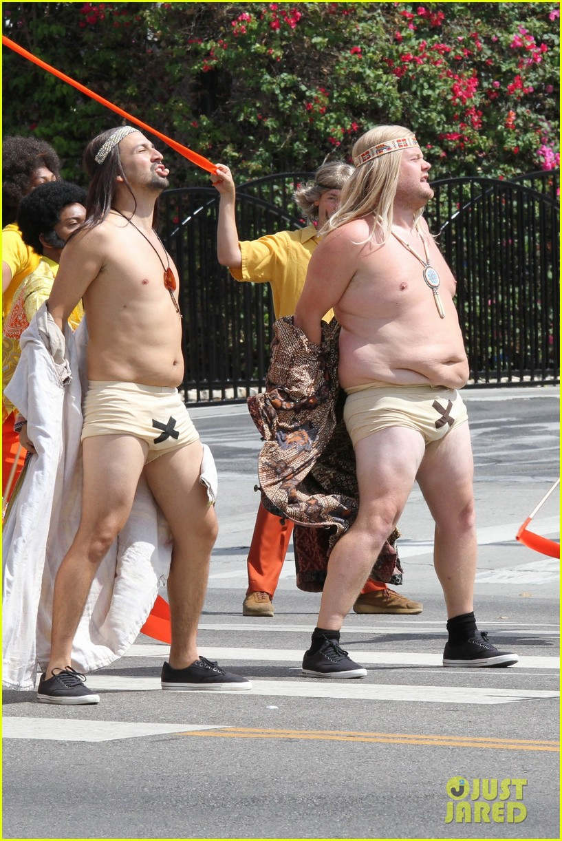 lin manuel miranda james corden go shirtless for crosswalk the musical 013942314