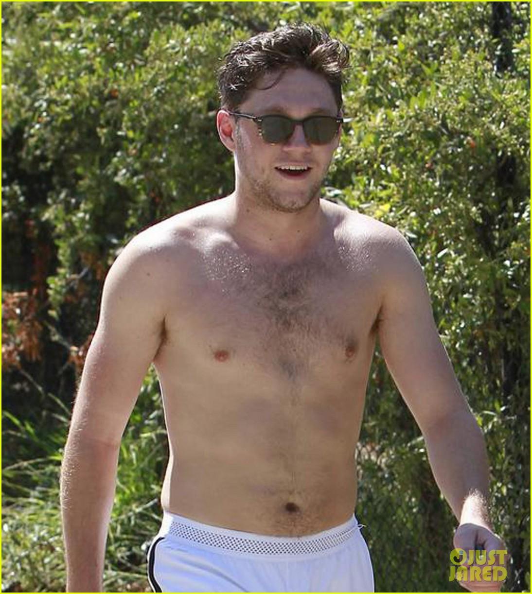 niall horan goes shirtless for hike at las runyon