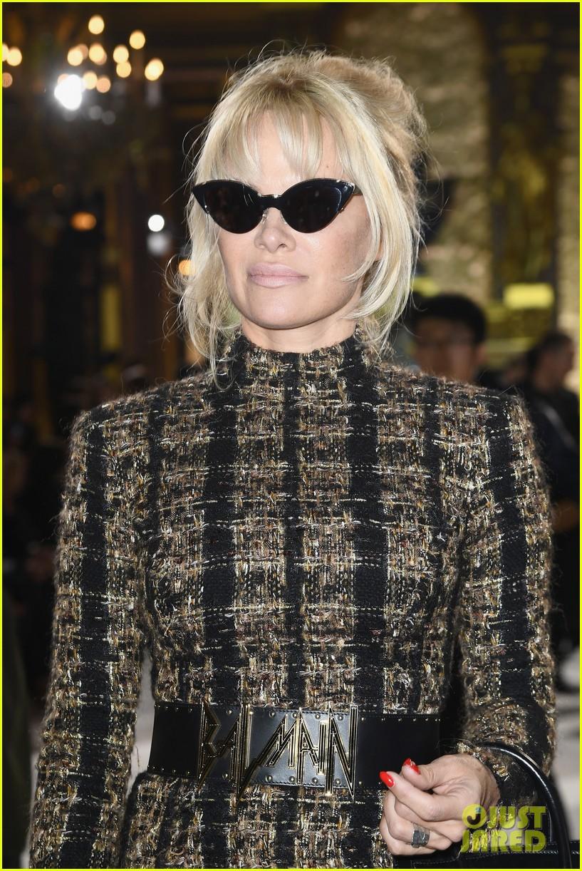 pamela anderson steps out for balmain fashion show after mourning hugh hefners death 133965748