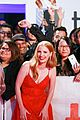 jessica chastain poses with cutouts of her face at woman walks ahead premiere2 02