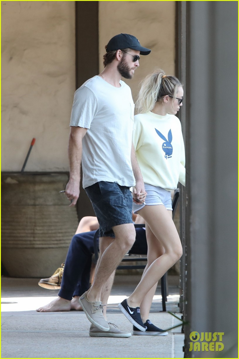 miley cyrus liam hemsworth hold hands for saturday morning date 033949604