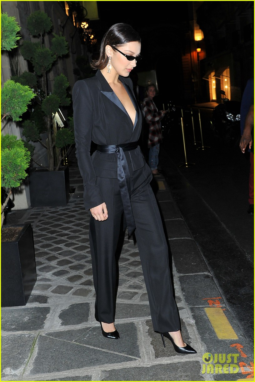 bella hadid and hailey baldwin look chic at paris fashion week dinner 013965420