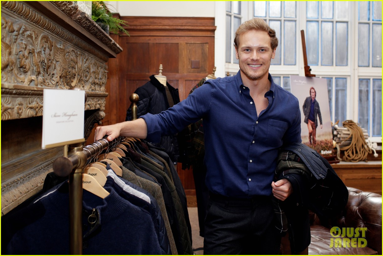 new design closer at cheap for sale Sam Heughan Launches Barbour Signature Collection In NYC ...