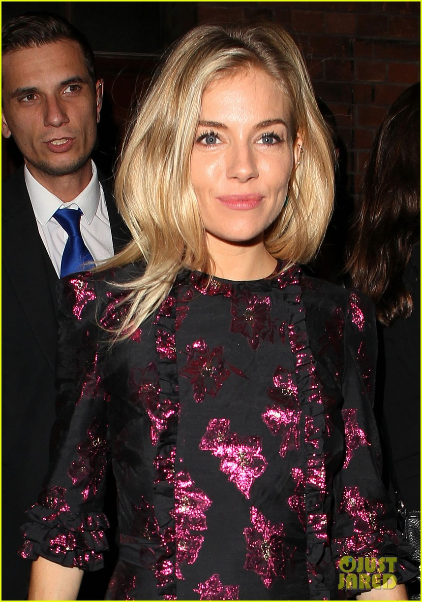 sienna miller dazzles in metallic mini dress after cat on a hot tin roof performance 053949346