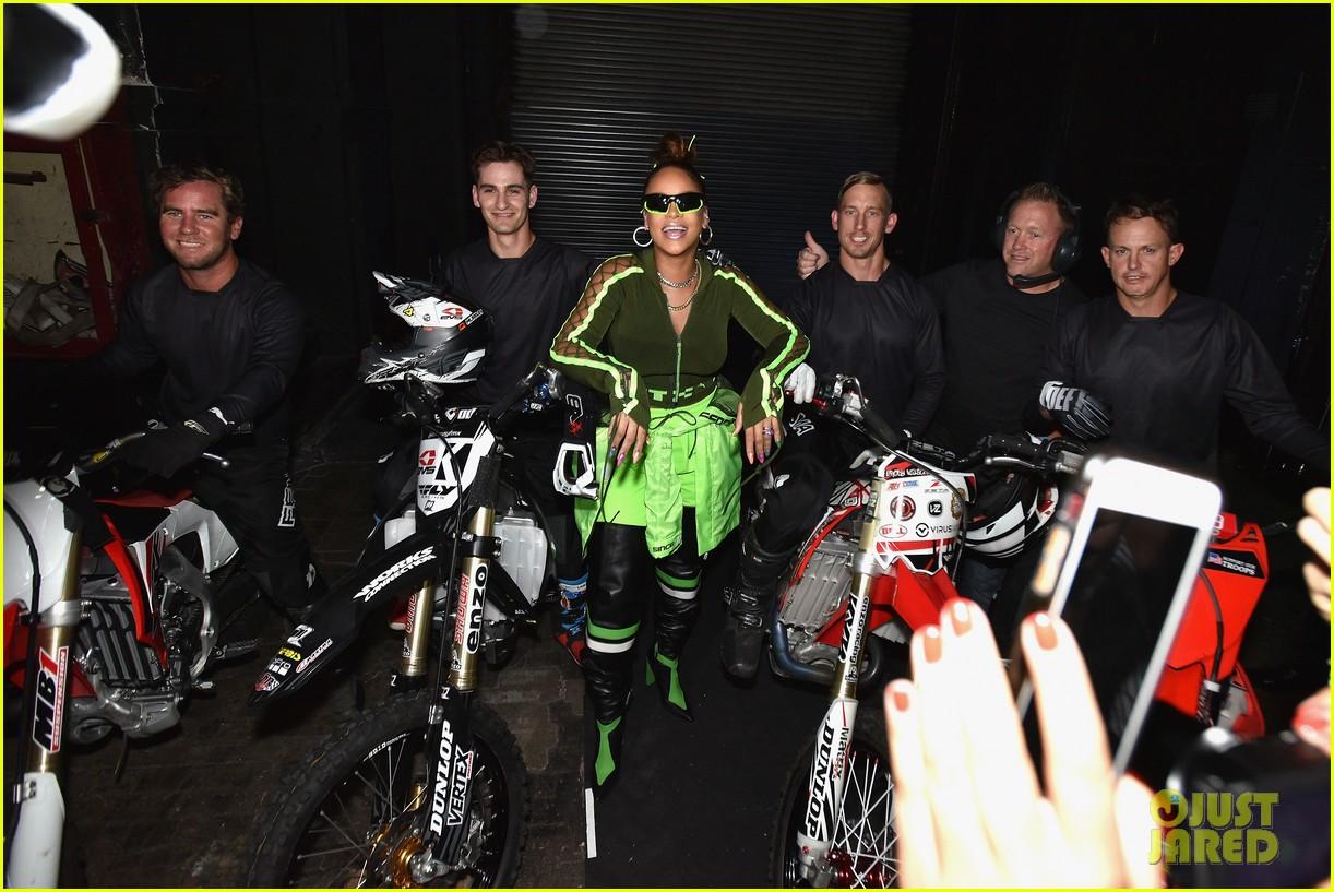 rihanna closes the fenty x puma fashion on a motorcycle 063954568