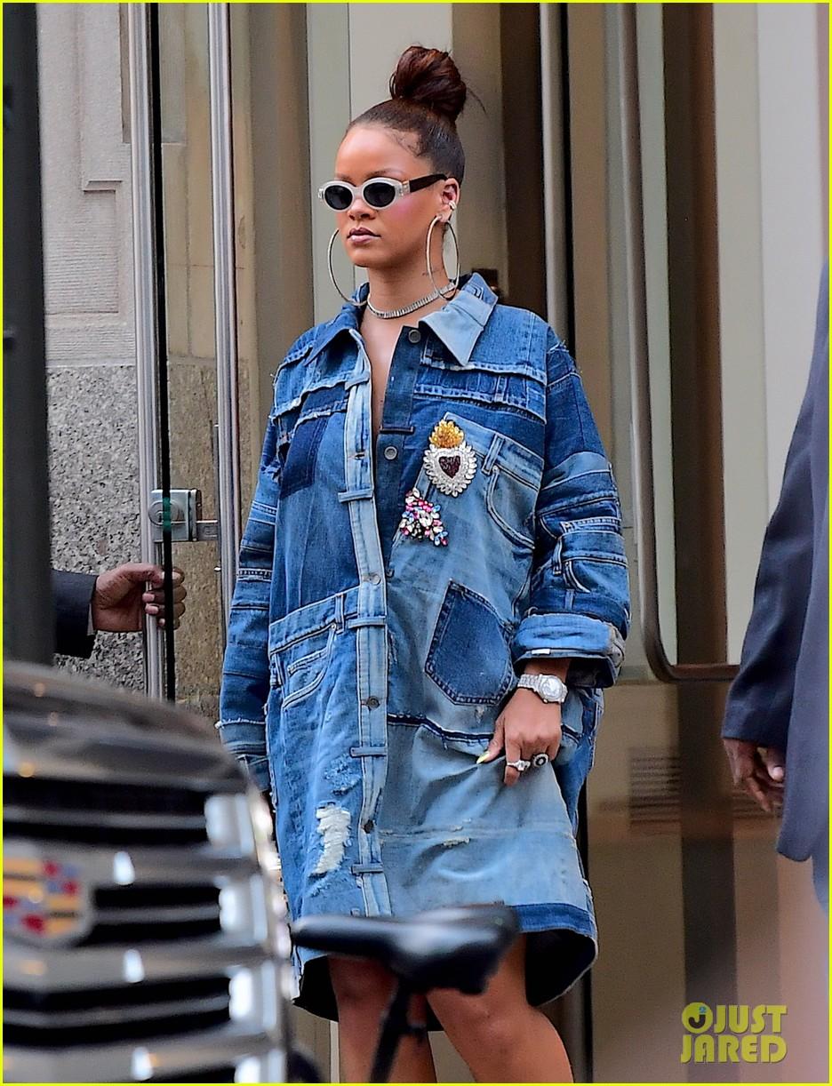 Rihanna Rocks A Denim Dress Before Her Diamond Ball In Nyc