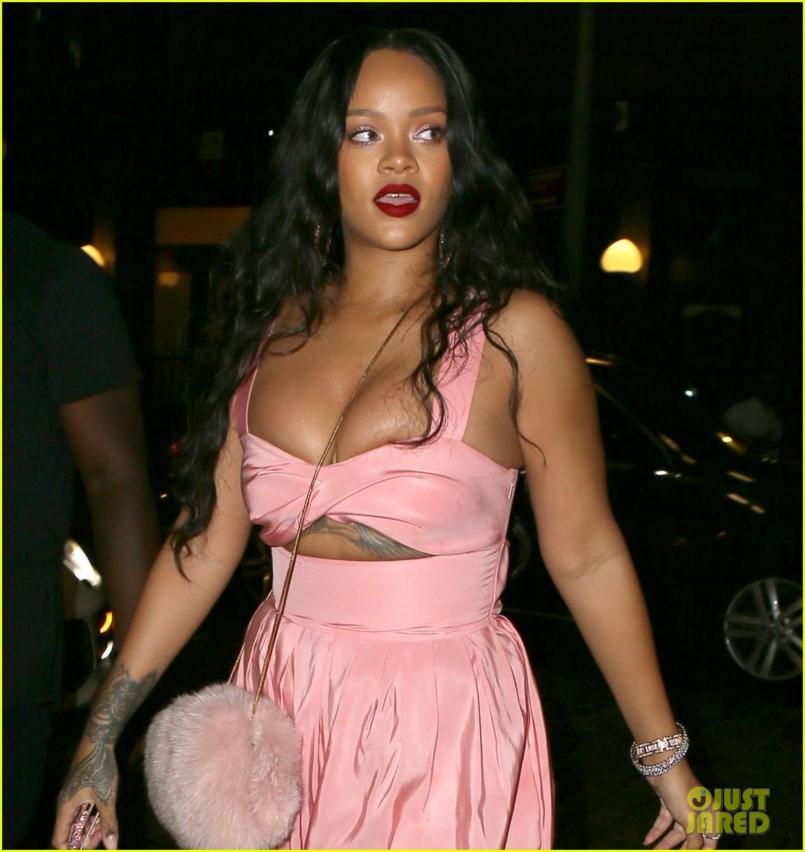 rihanna wears pink jumpsuit in brooklyn 083958656