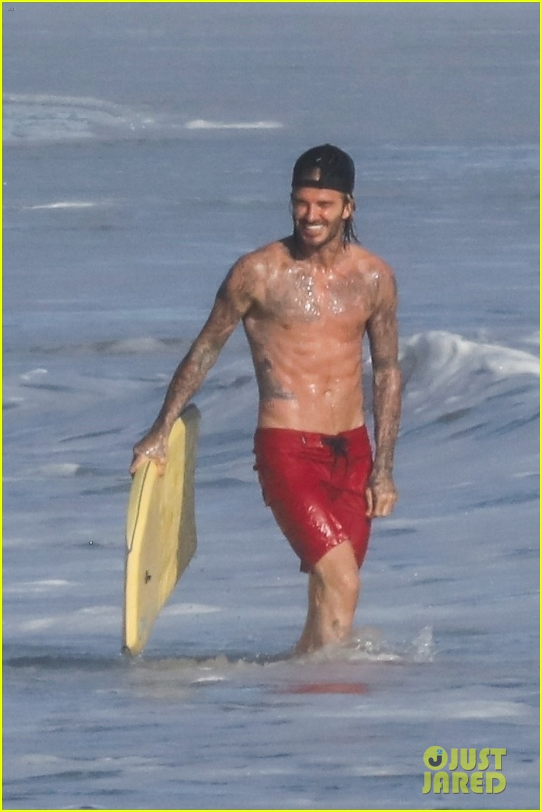 David Beckham Hits The Beach With His Kids Bares Tattooed