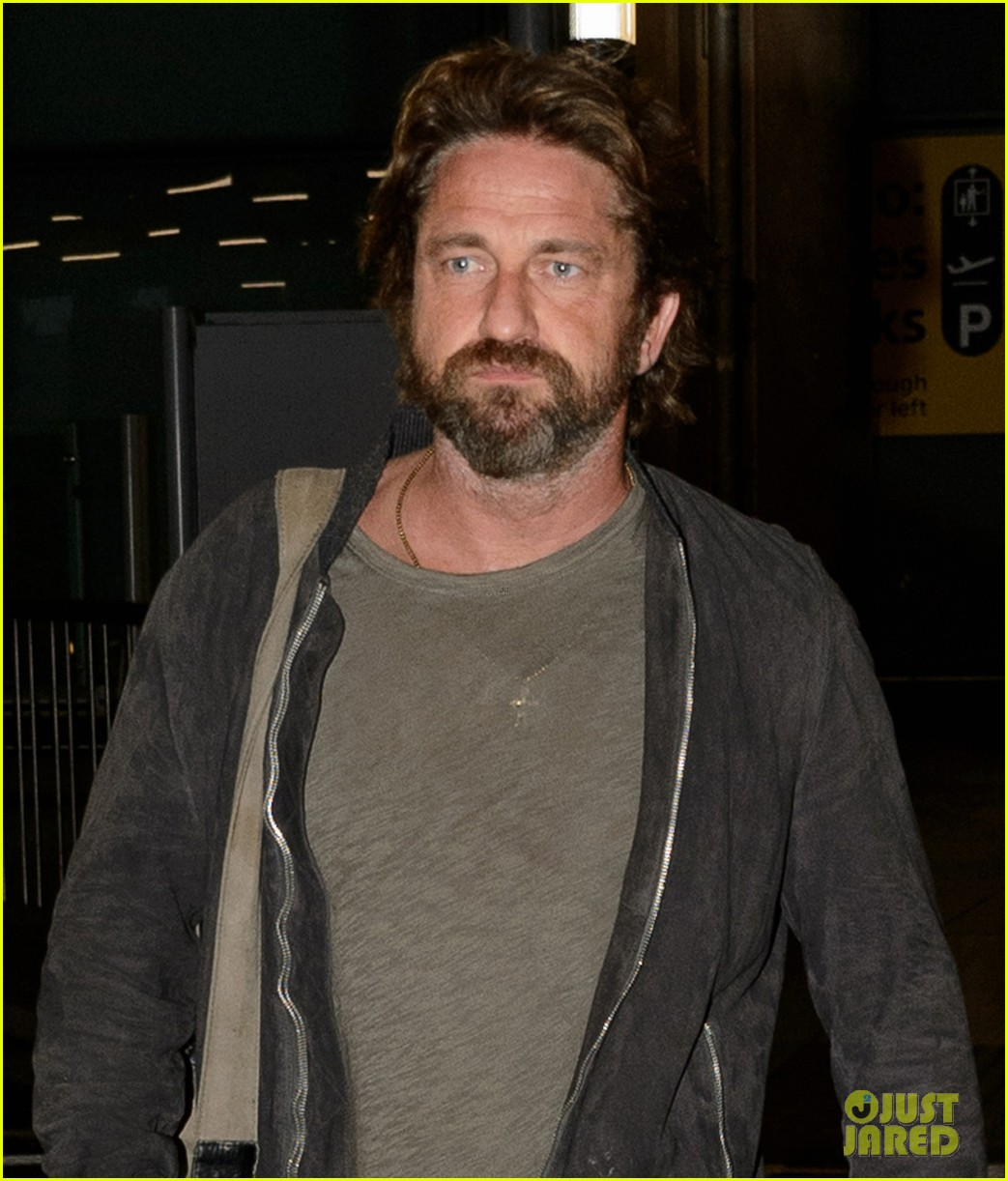 gerard butler arrives in london following motorcycle accident 063974696