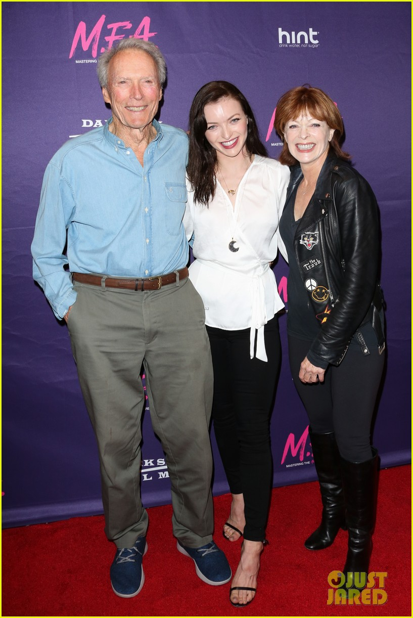 francesca eastwood gets support from father clint at m f a premiere 053967363