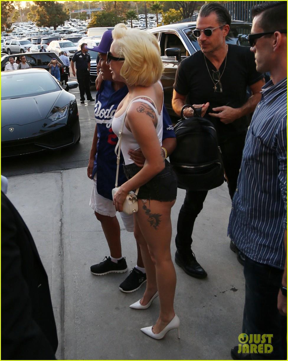 Lady Gaga Wears Skin Tight Tank Top Short Shorts To World Series