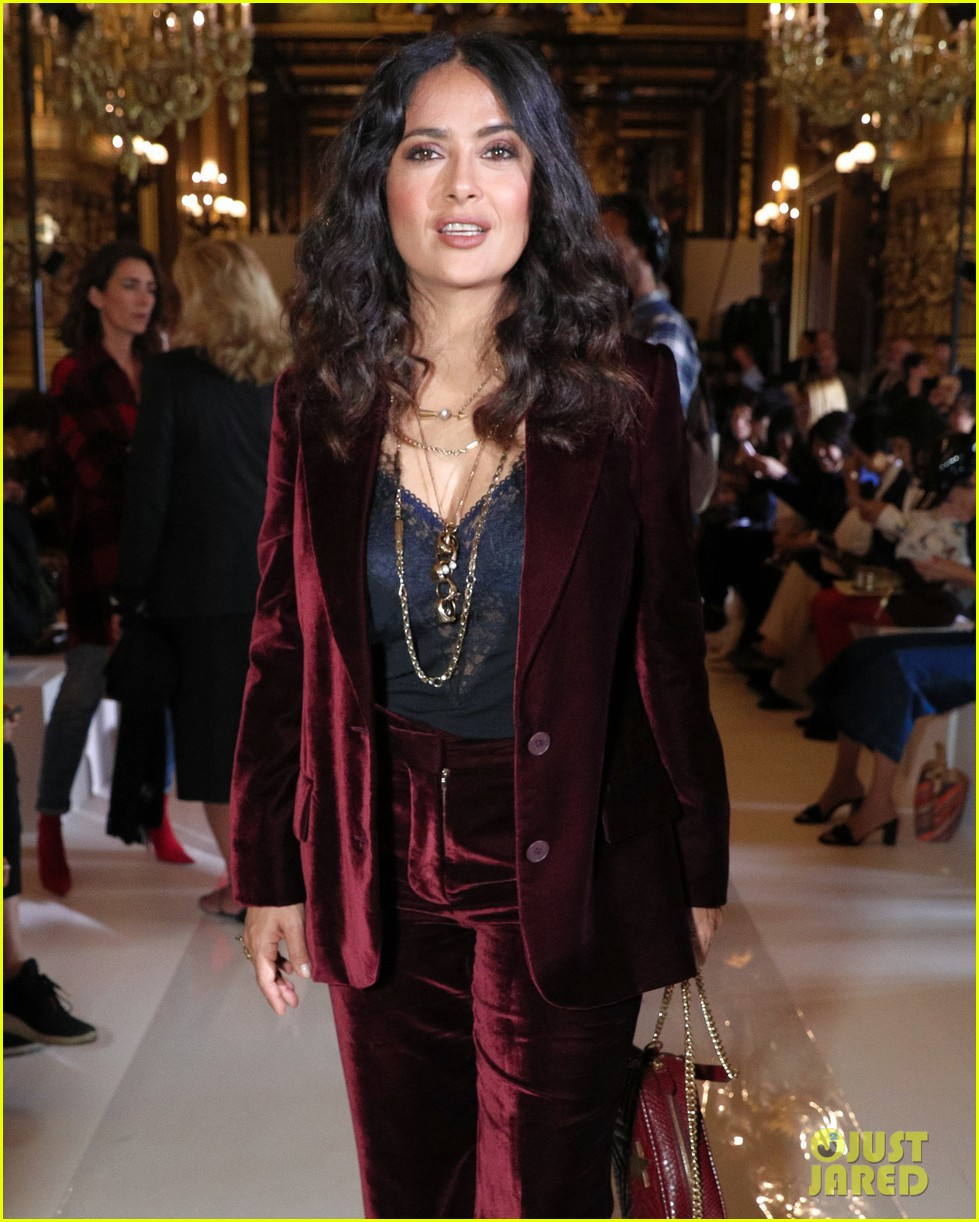 salma hayek ellie goulding alexa chung sit front row at stella mccartney paris show 213967042