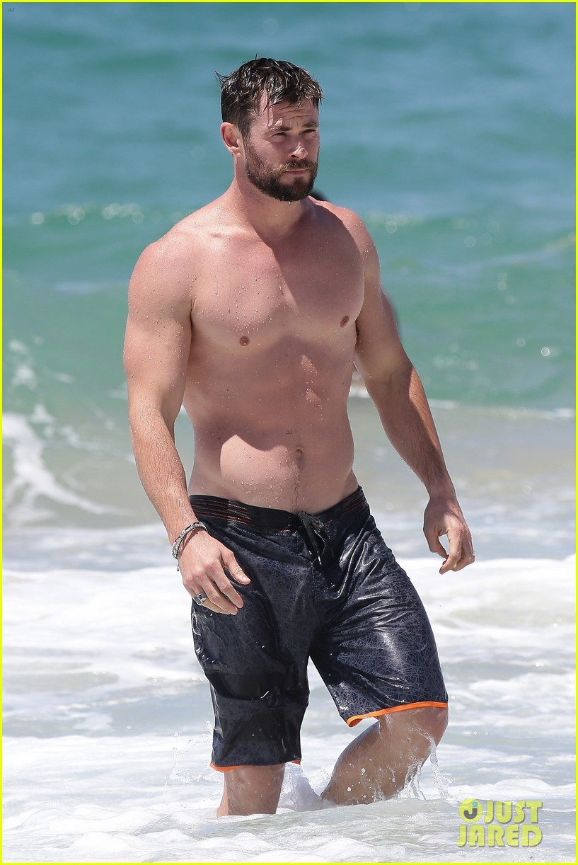 chris hemsworth goes shirtless at beach in australia 163972256