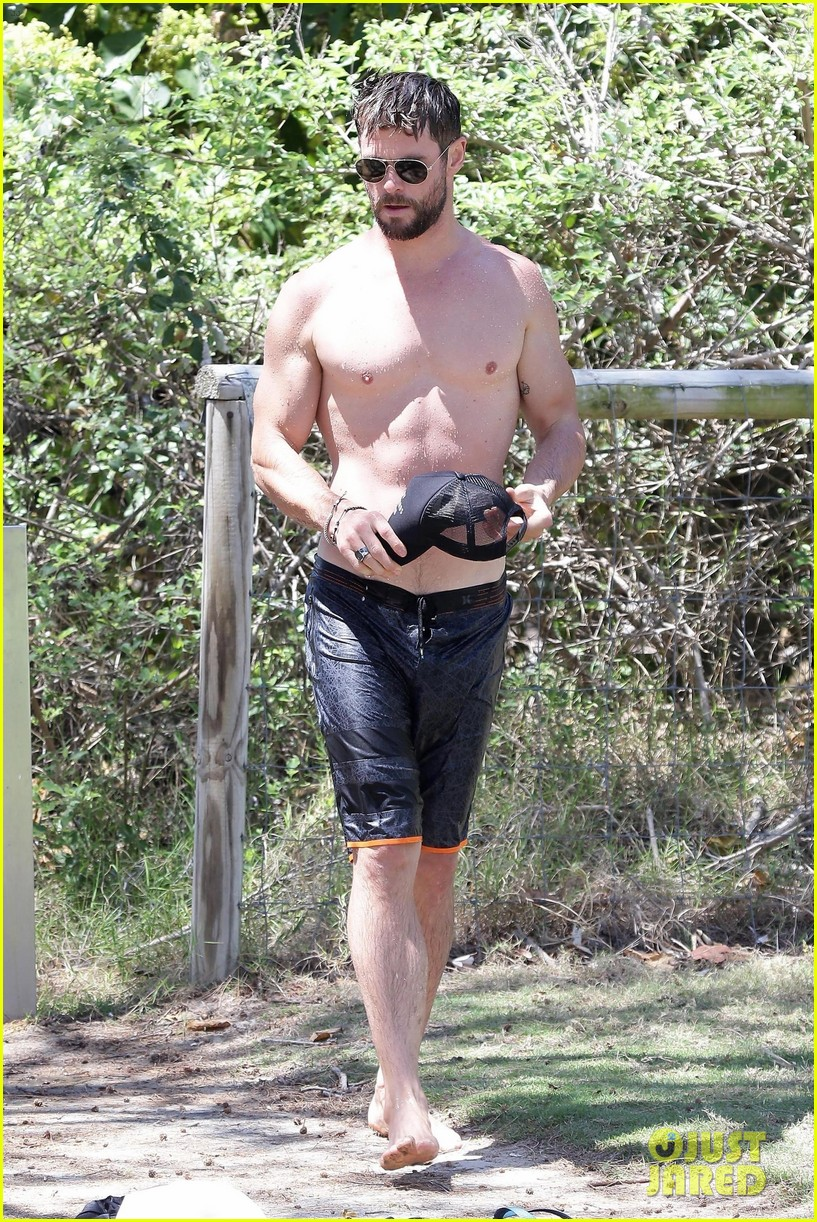 chris hemsworth goes shirtless at beach in australia 363972276