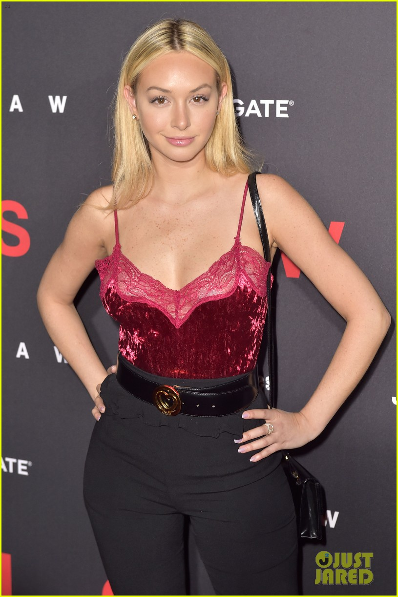 corinne olympios hits red carpet for jigsaw hollywood premiere 043978107