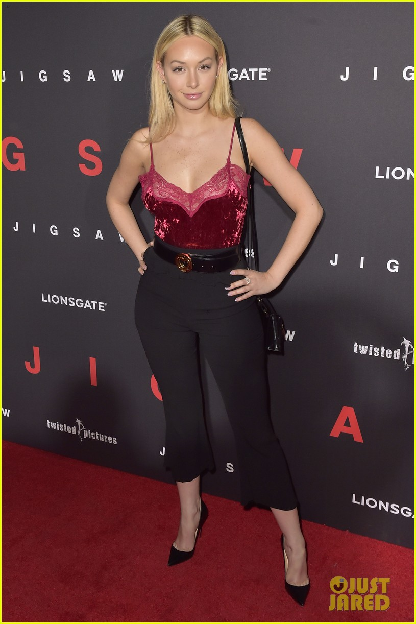 corinne olympios hits red carpet for jigsaw hollywood premiere 063978109