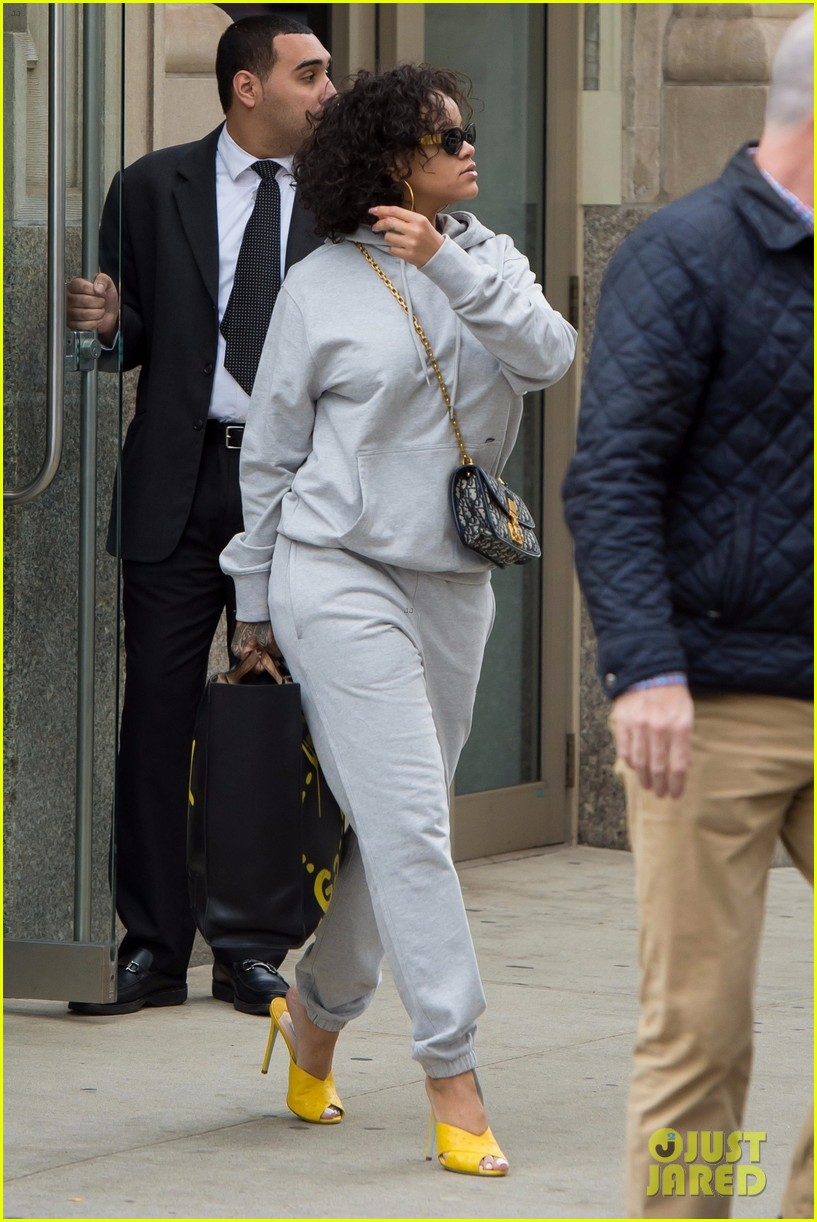 rihanna keeps it comfy but still stylish in a gray sweatsuit 013978611