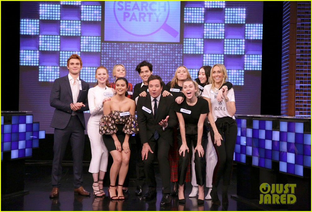 riverdale cast miley cyrus family face off in hilarious tonight show game show 023967993