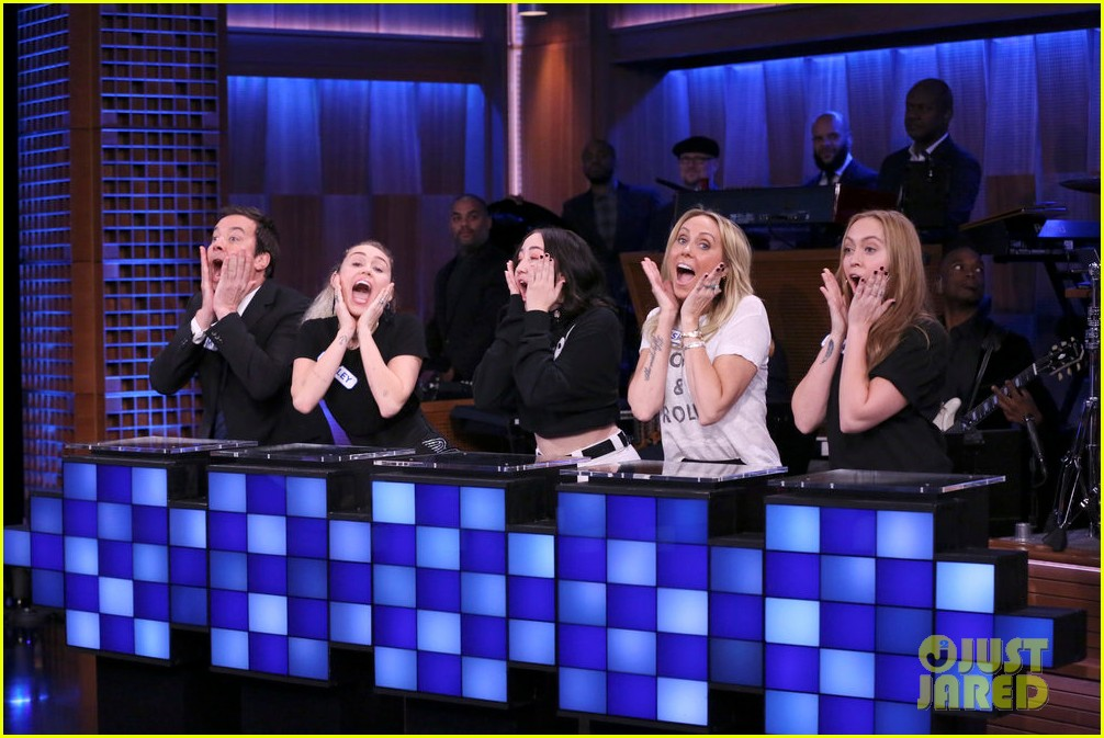 riverdale cast miley cyrus family face off in hilarious tonight show game show 063967997