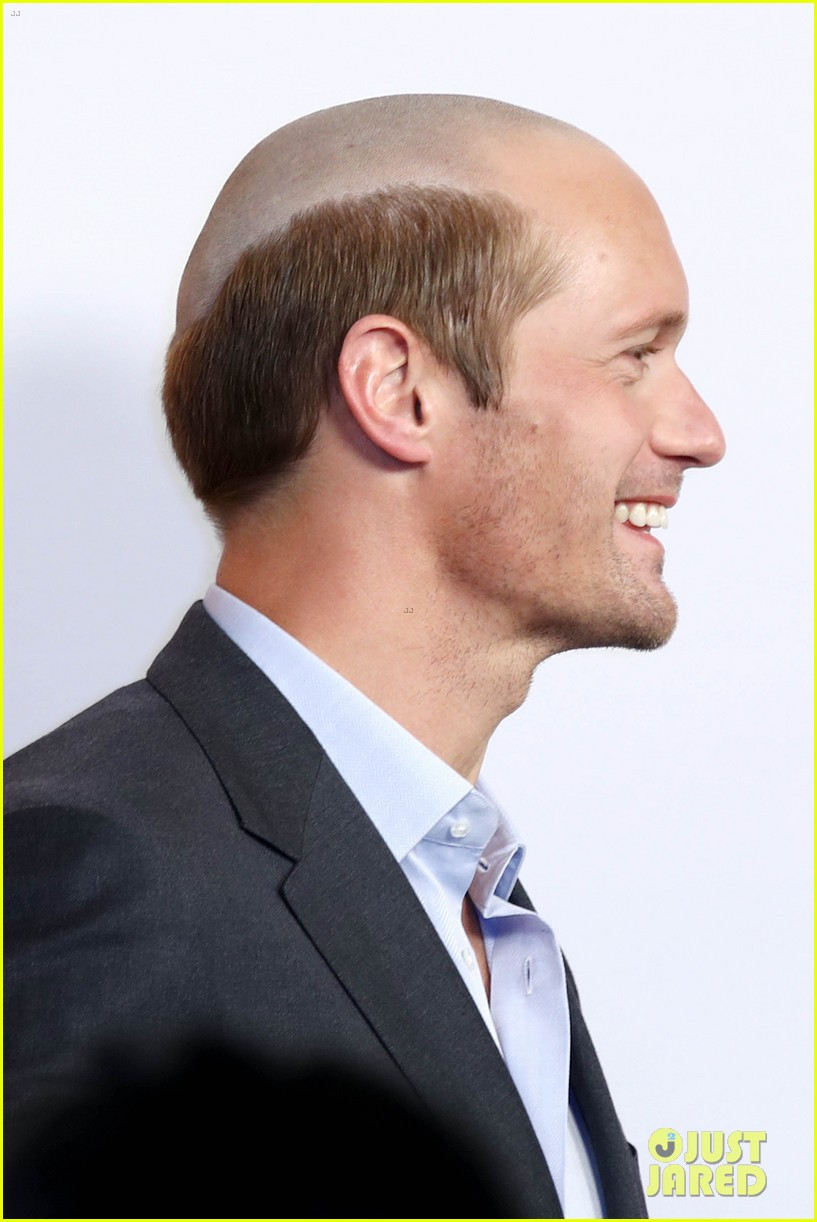 alexander skarsgard debuts new bald head see photos photo