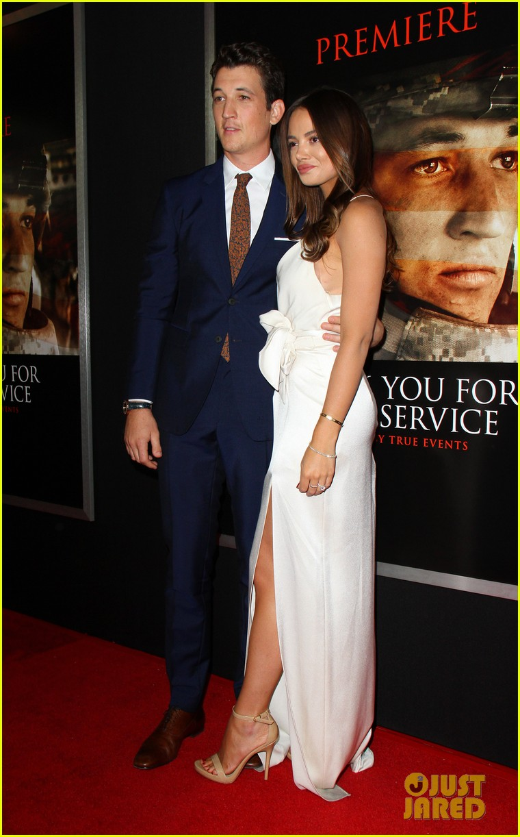 miles teller keleigh sperry couple up at thank you for your service premiere 043977178