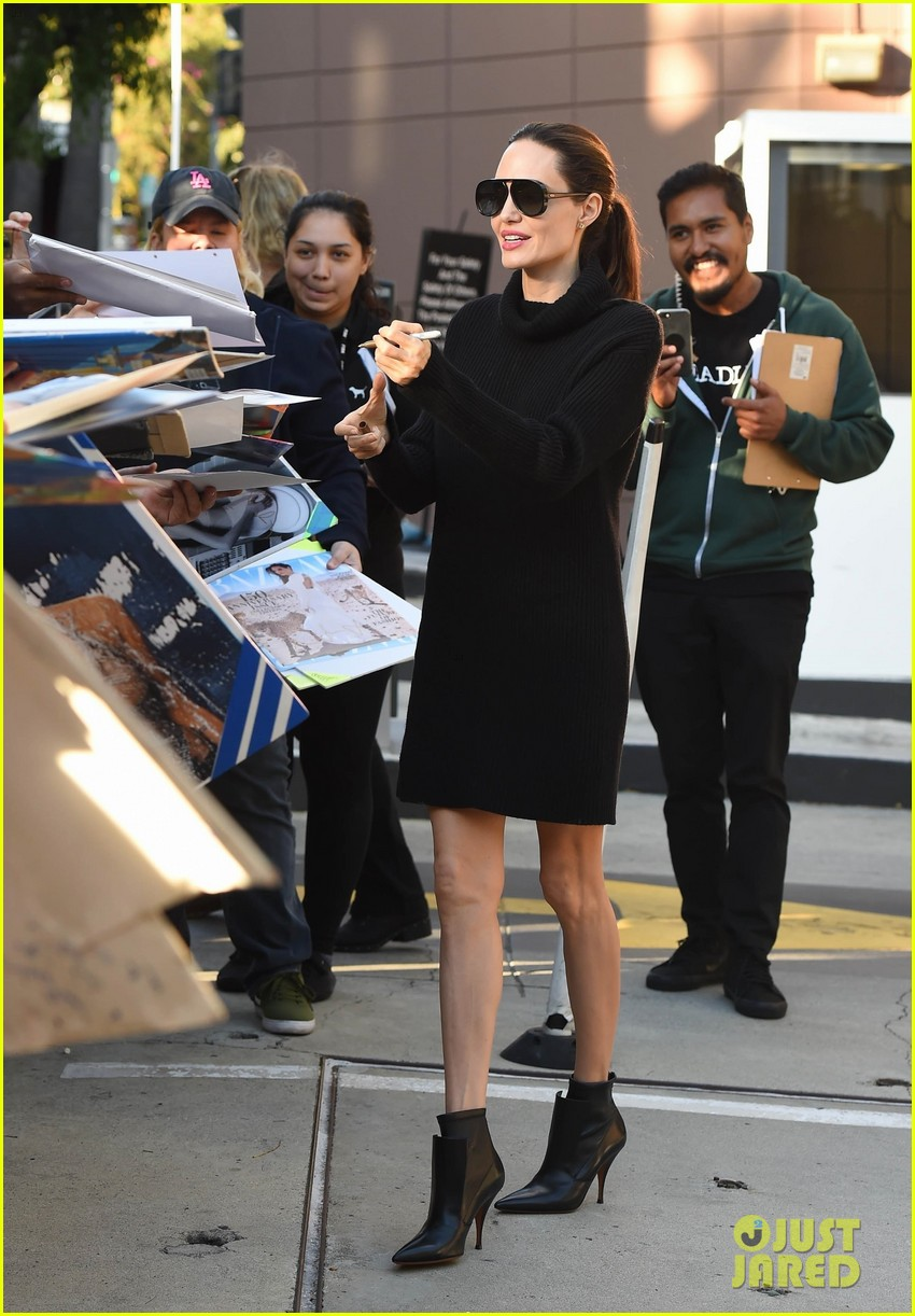 angelina jolie looks chic greeting fans in hollywood 013982369