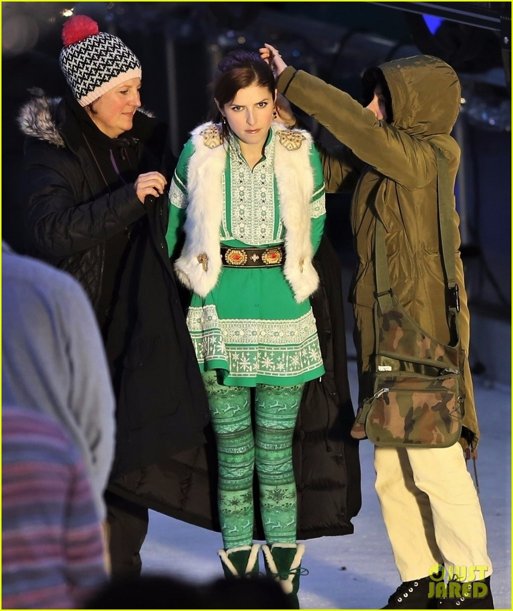 Anna Kendrick Gets Chilly On The Ice While Filming