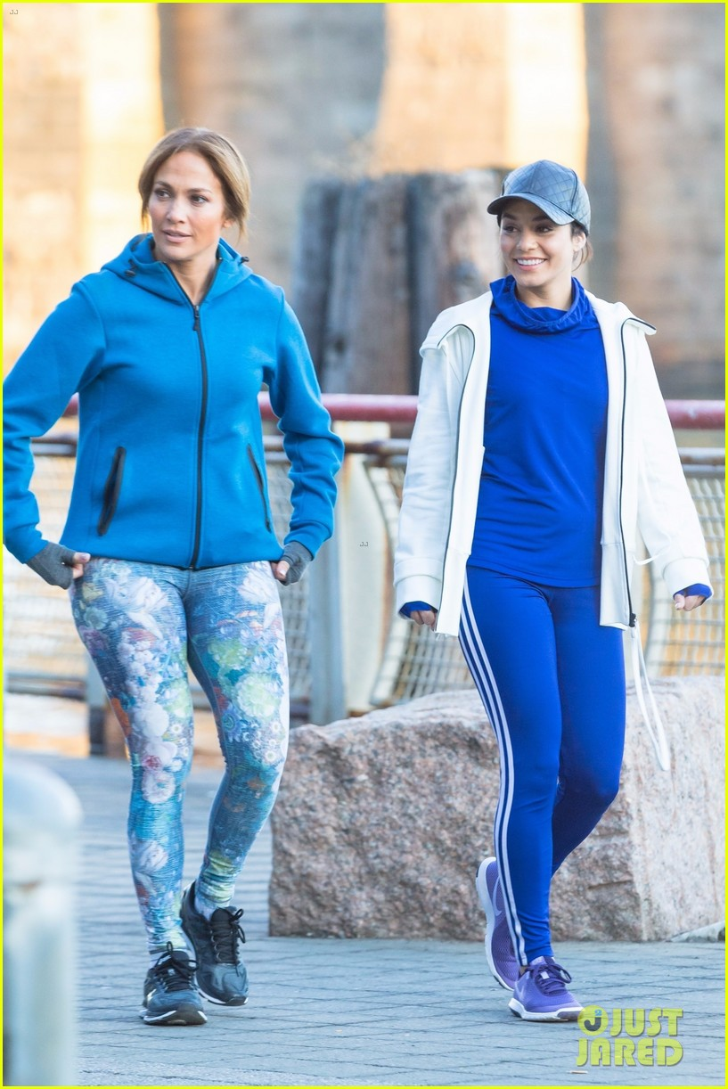jennifer lopez and vanessa hudgens are running buddies on second act set 013994110
