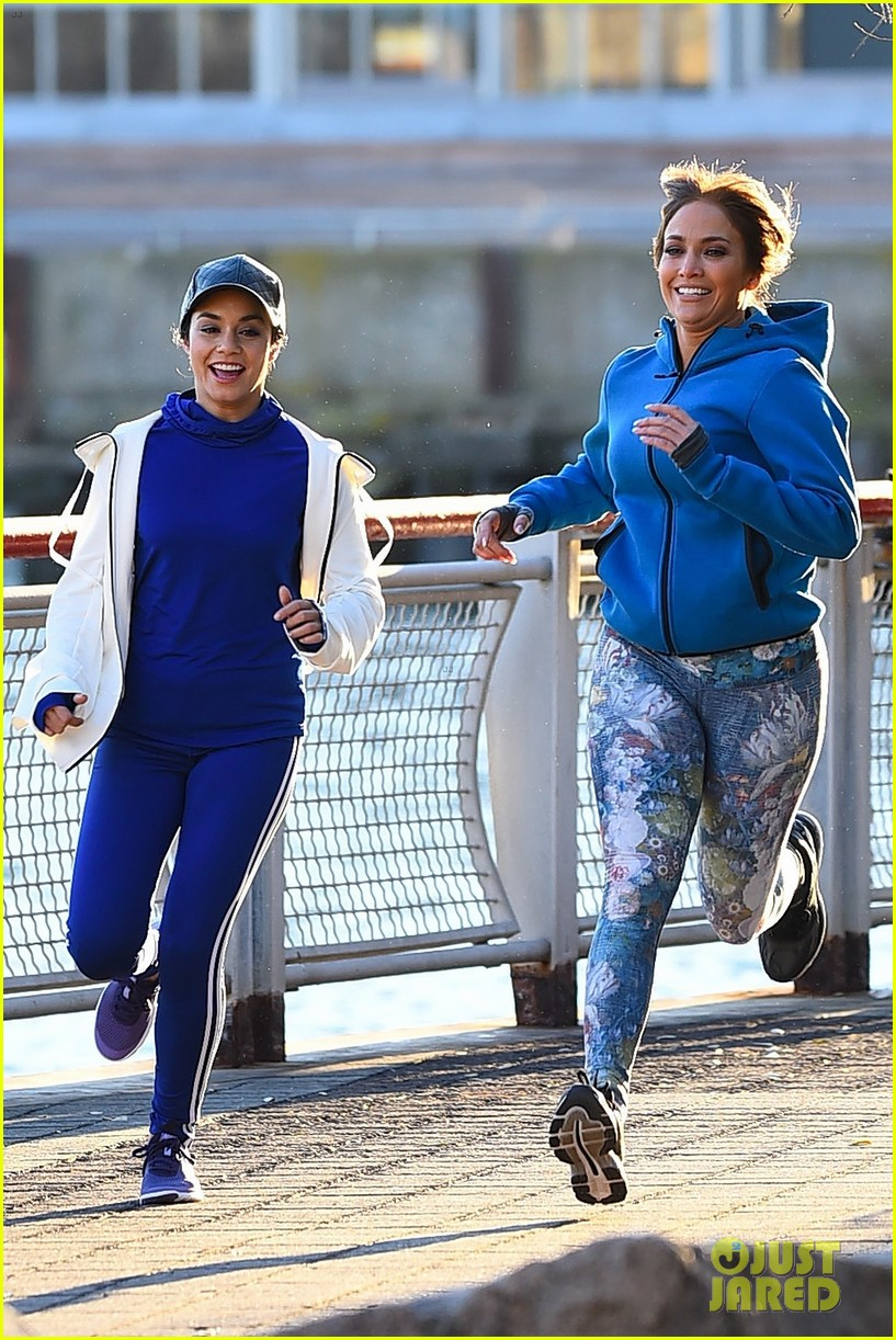 jennifer lopez and vanessa hudgens are running buddies on second act set 203994129