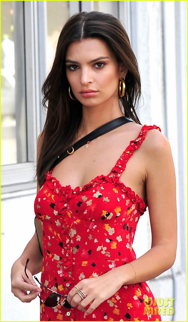 emily ratajkowski wows in bright red floral dress and boots 033983681