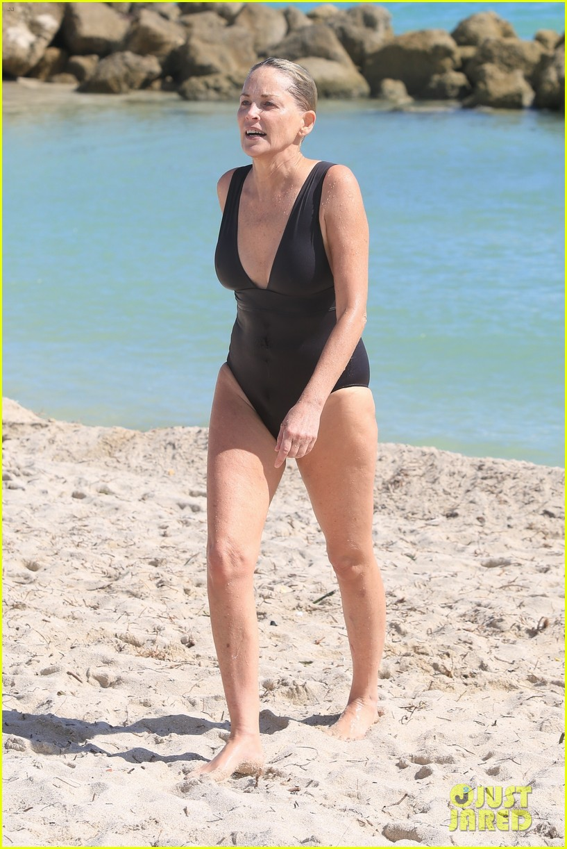 Sharon Stone in Bikini Top with her boyfriend at the beach in Miami Pic 17 of 35