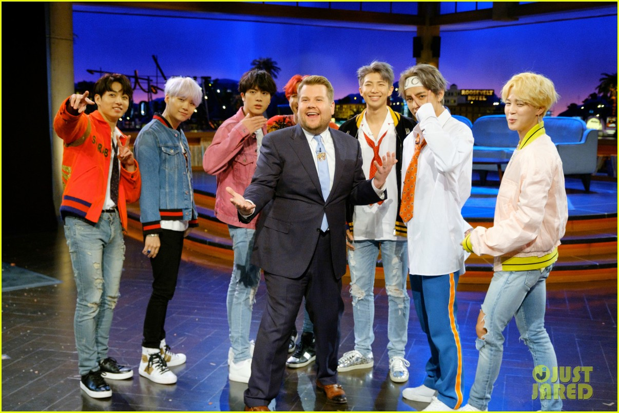 bts gets fruit launched at them by james corden watch now 033995158