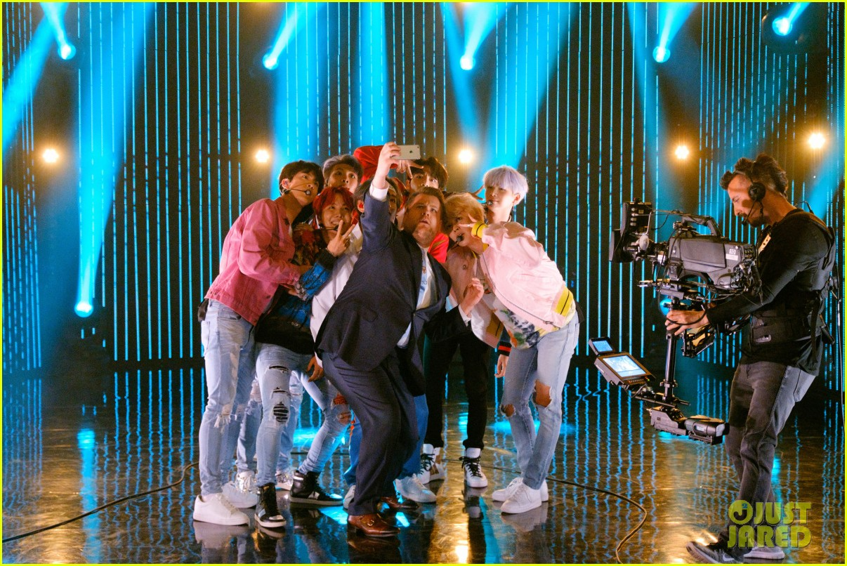 bts gets fruit launched at them by james corden watch now 043995159