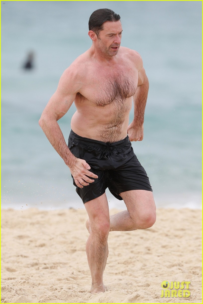 Hugh Jackman Goes Shirtless At The Beach With His Hot