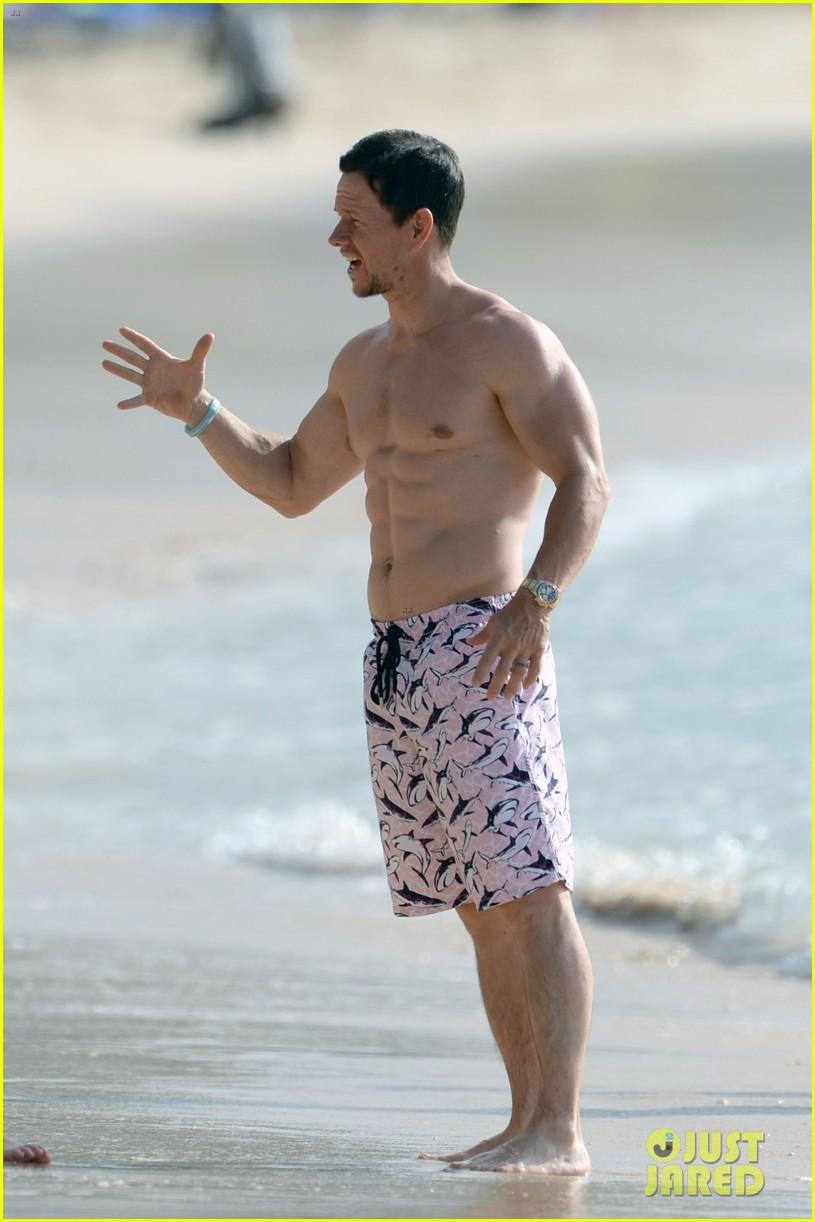 mark wahlberg shirtless beach barbados 034005652