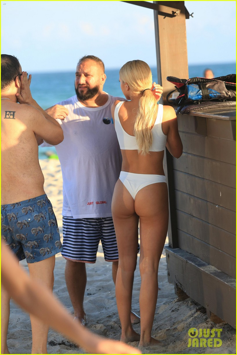 Sofia Richie Jet Skis In White Thong Bikini On Miami Beach