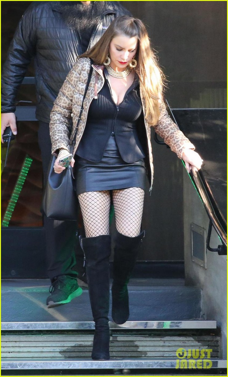 sofia vergara wears fishnet stockings & leather mini skirt for