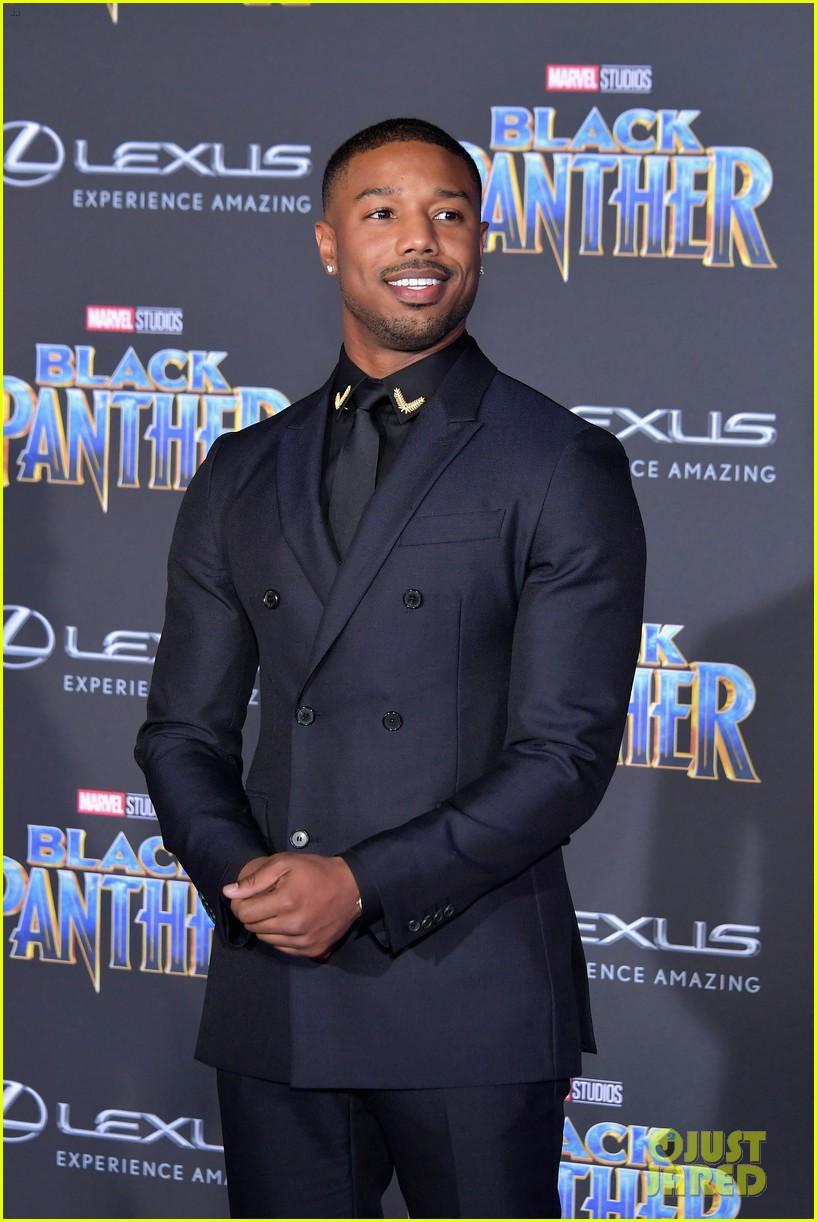 4c443c0a6d3 Chadwick Boseman & Michael B. Jordan Look Sharp at 'Black Panther' Premiere