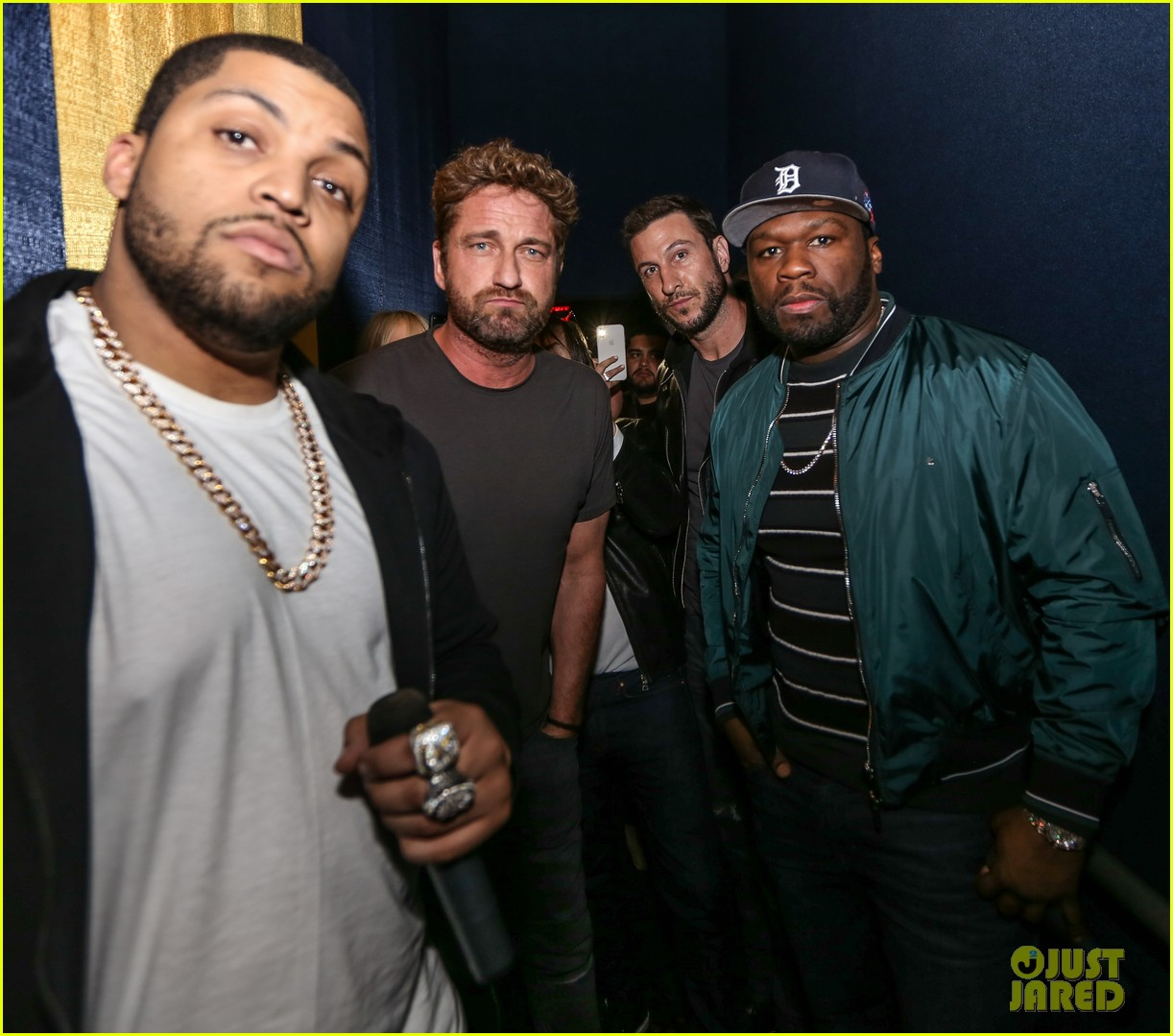 gerard butler 50 cent team up in miami for den of thieves special screening 014012433