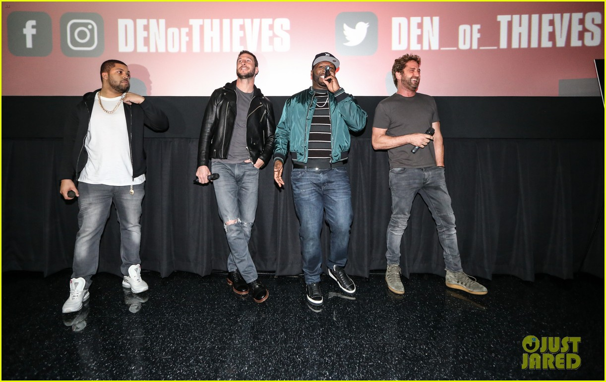 gerard butler 50 cent team up in miami for den of thieves special screening 114012443