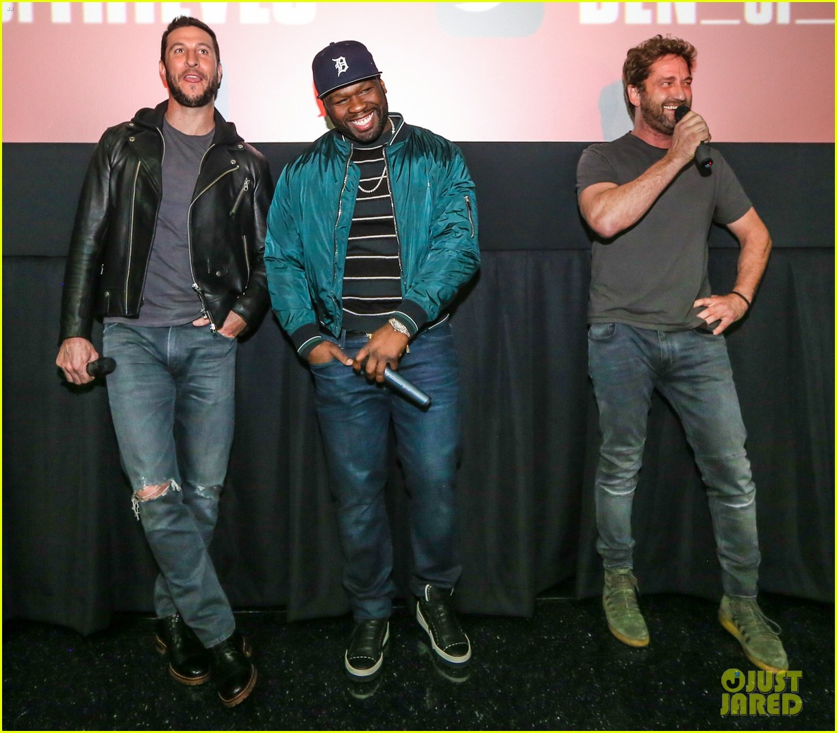 gerard butler 50 cent team up in miami for den of thieves special screening 124012444