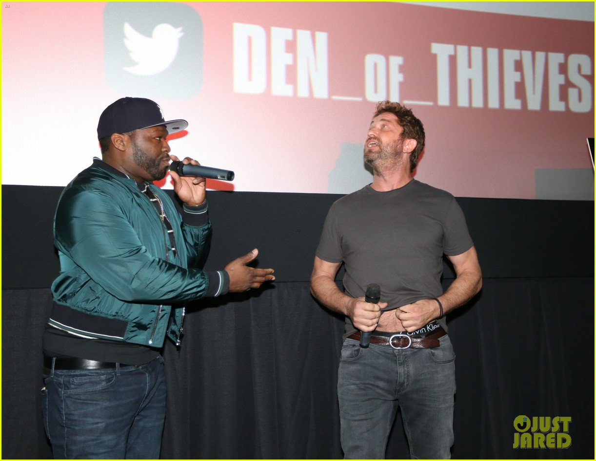 gerard butler 50 cent team up in miami for den of thieves special screening 144012446