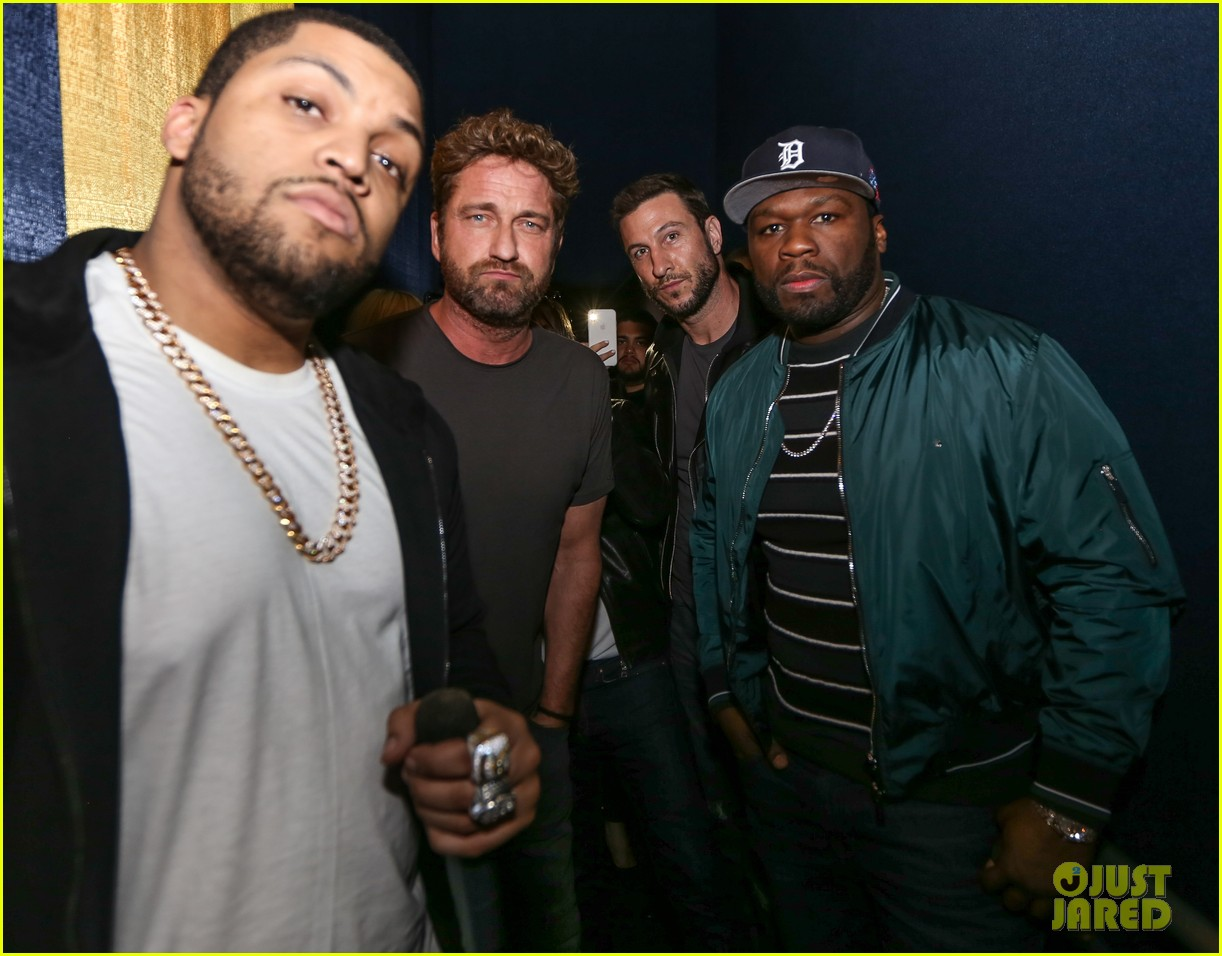 gerard butler 50 cent team up in miami for den of thieves special screening 154012447