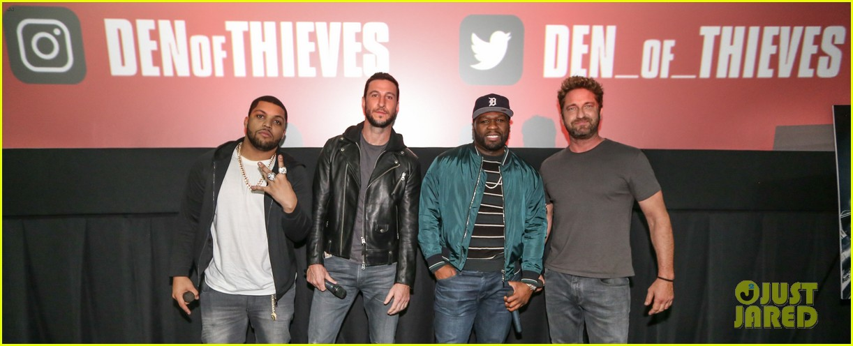 gerard butler 50 cent team up in miami for den of thieves special screening 164012448