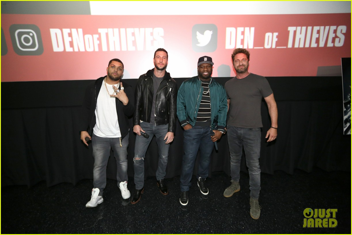 gerard butler 50 cent team up in miami for den of thieves special screening 174012449