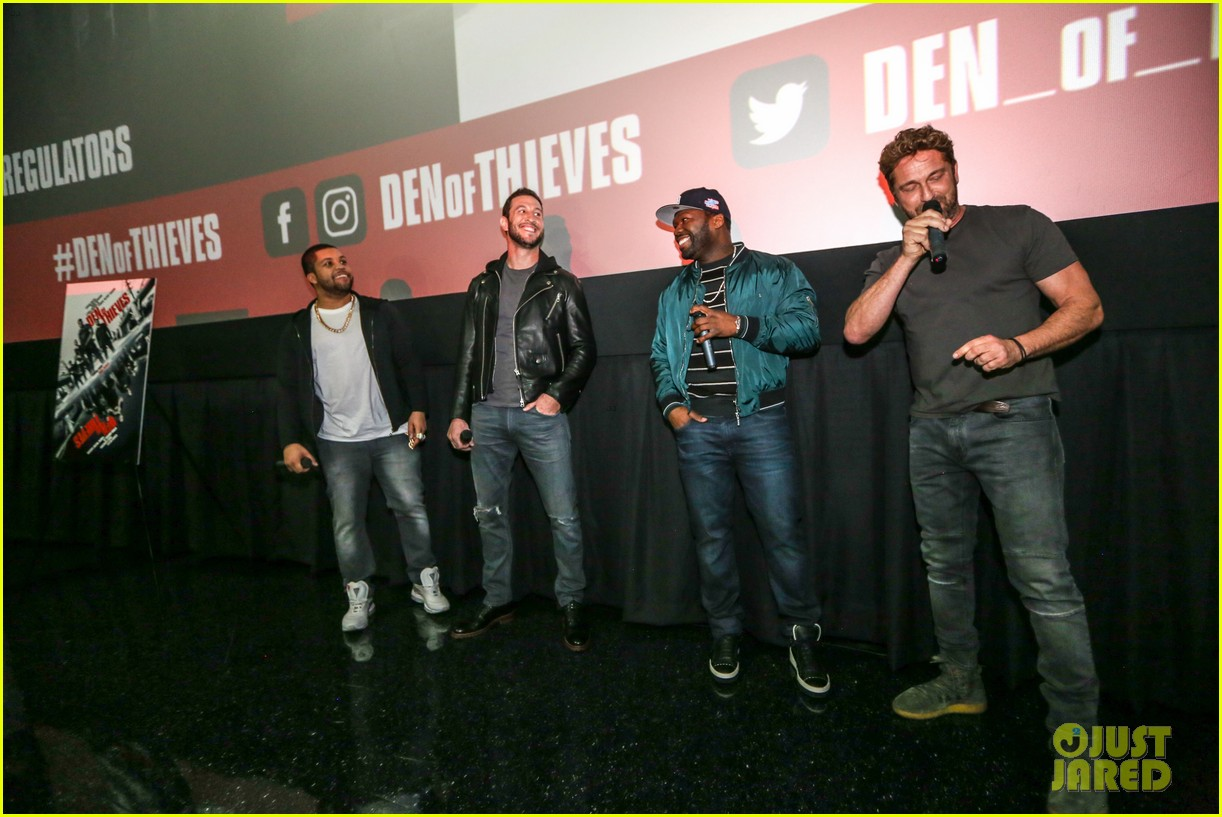 gerard butler 50 cent team up in miami for den of thieves special screening 184012450