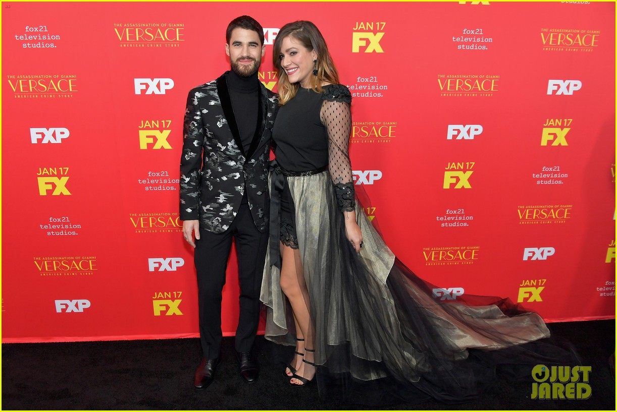darren criss gets support from mia swier and lea michele at versace premiere 014011328