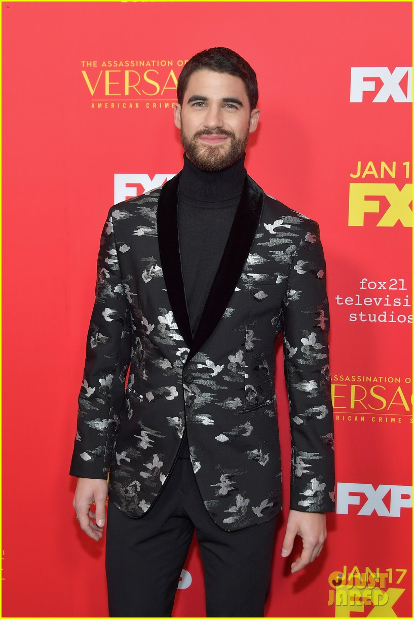 darren criss gets support from mia swier and lea michele at versace premiere 084011335