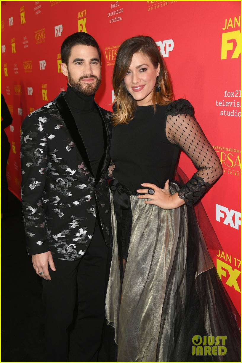 darren criss gets support from mia swier and lea michele at versace premiere 154011342